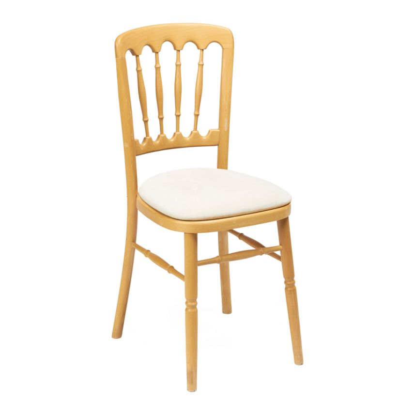 Natural Banquet Chair - Ivory Seat Pad