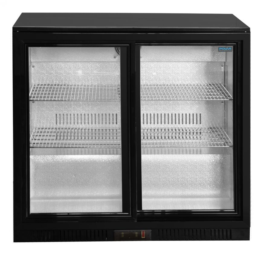 Under Counter Glass Fronted Double Door Fridge image